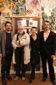 Manfred Kirschner, Lothar Lambert, Bettina Ginther und Frank Schoppmeier in der Galerie Crystal Ball, November 2015
